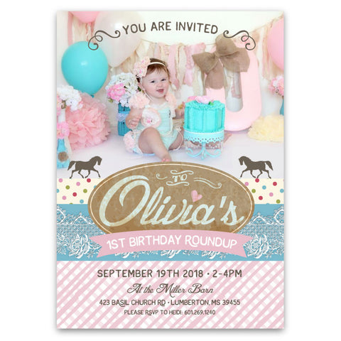 Pretty Cowgirl and Pony Birthday Invitations