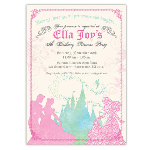 Princess Castle Birthday Invitations