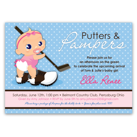 Putters & Pampers Baby Shower Invitations (girl)