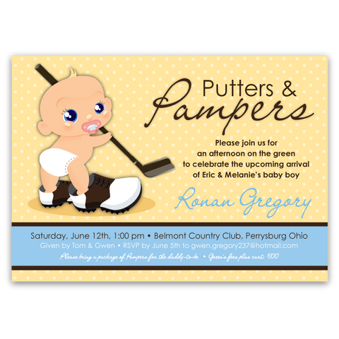 Putters & Pampers Baby Shower Invitations (boy)