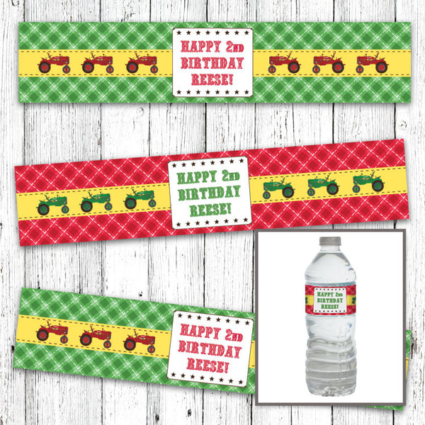 Red Tractor Farm Party Printable Bottle Labels