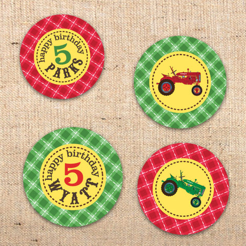 Red Tractor Farm Party Circles