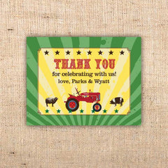 Red Tractor Farm Party Thank You Notecard