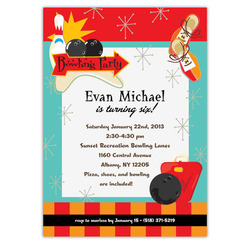 Retro Bowling Party Invitations (A)