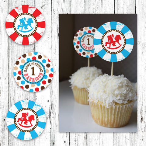 Rocking Horse Cowboys Cupcake Toppers