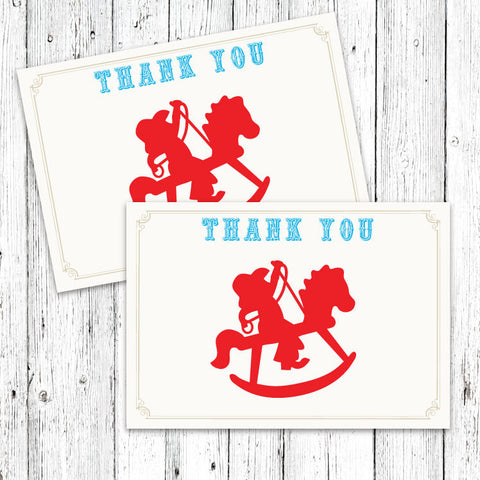 Rocking Horse Cowboy Thank You Notecard (B)