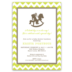Chevron Rocking Horse Baby Shower Invitations
