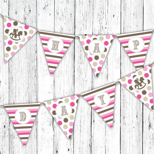 Rocking Horse Cowboy Pennant Party Banner