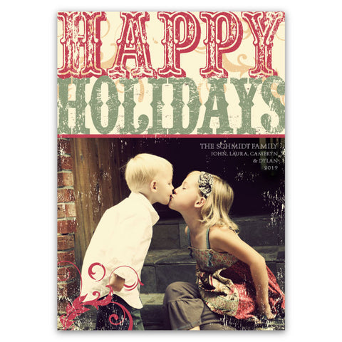 Rustic, Vintage Type: Happy Holidays