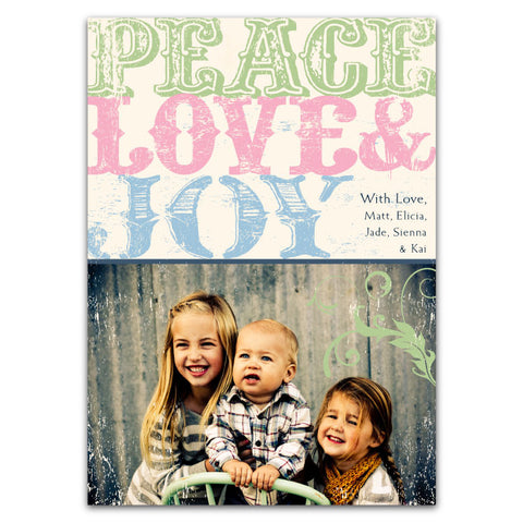 Rustic, Vintage Type: Peace Love Joy