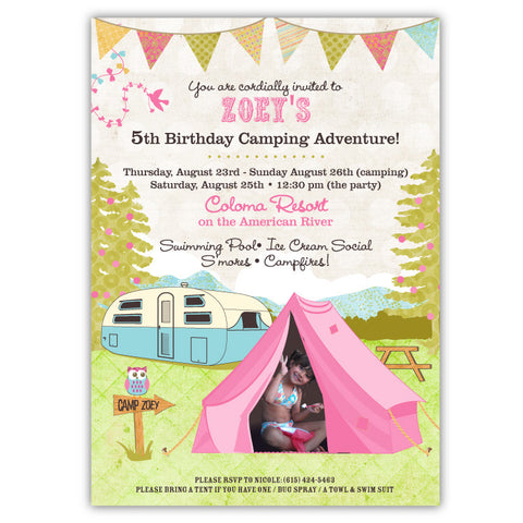 Shabby Chic Campout Invitations (A)