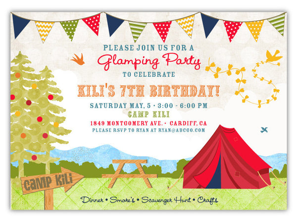 Shabby Chic Campout Invitations (B)