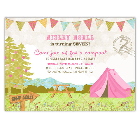 Shabby Chic Campout Invitations (C)