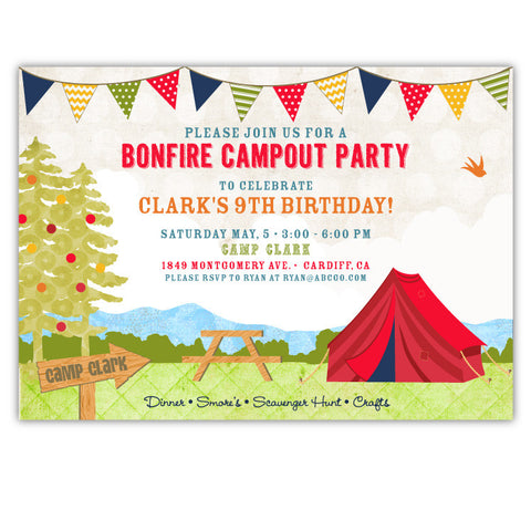 Boys Campout Invitations