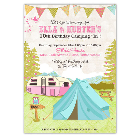 Shabby Chic Campout Invitations (D)