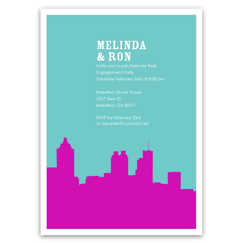 Atlanta Skyline Silhouette Party Invitations