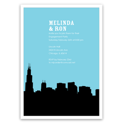 Chicago Skyline Silhouette Party Invitations