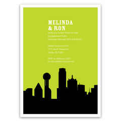 Dallas Skyline Silhouette Party Invitations