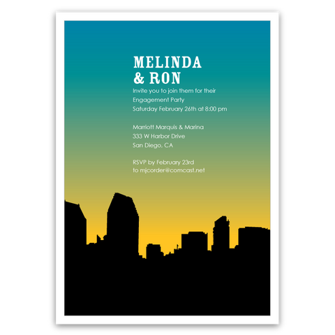 San Diego Skyline Silhouette Party Invitations