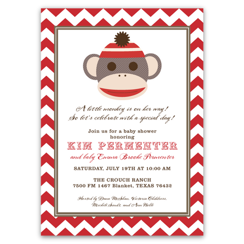 Sock Monkey Face Baby Shower Invitations