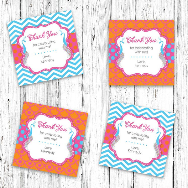 Sophisticated Peacocks Party Favor Tags