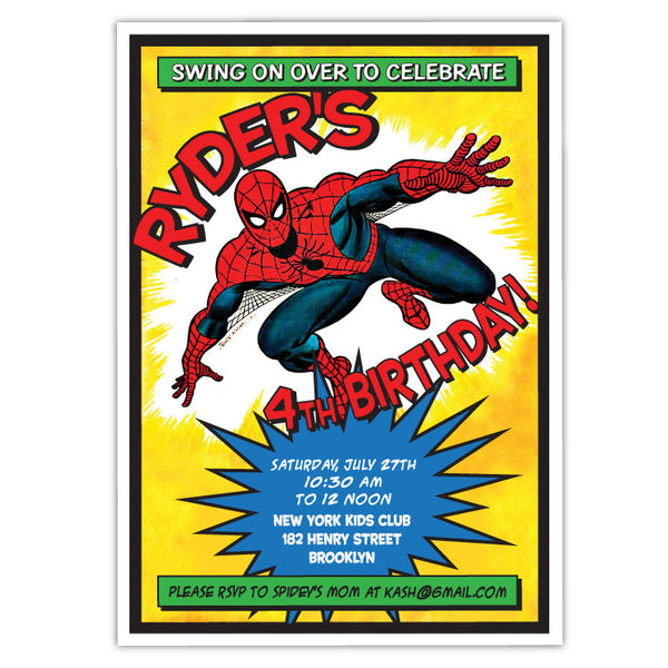 Spider Man Birthday Invitations (B)