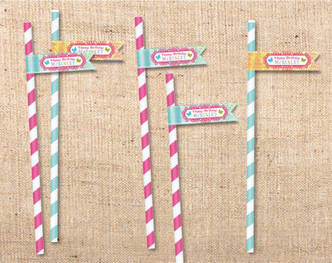 Whimsical Wonderland Straw Flags