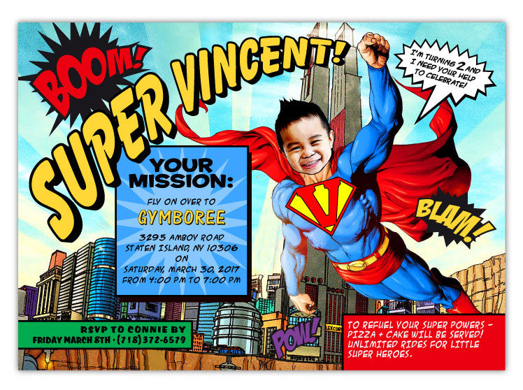 Superman Birthday Invitations Ian Lola Design Boutique – Superman Birthday Party Invitations