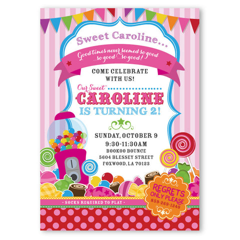 Sweet Shop Candy Theme Birthday Invitations