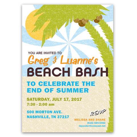 Tropical Beach Bash Party Invitations