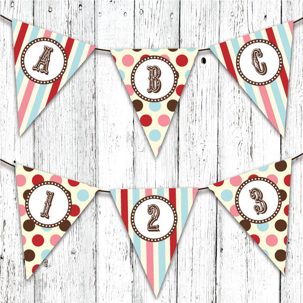 Vintage Carnival Circus Pennant Party Banner in Aqua Red & Brown