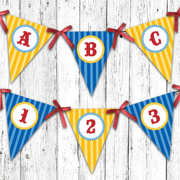 Vintage Carnival Circus Pennant Party Banner in Yellow Blue & Red
