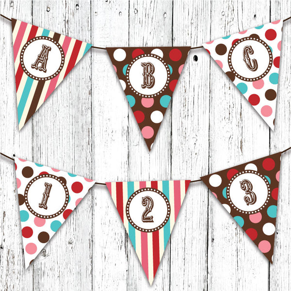 Vintage Carnival Circus Pennant Party Banner in Red Teal & Brown