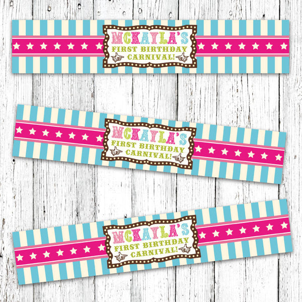 Vintage Carnival Circus Bottle Labels in Candy Colors