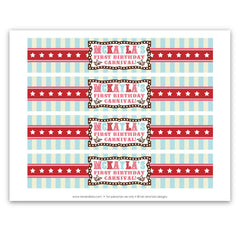 Vintage Carnival Circus Bottle Labels in Aqua Red & Brown