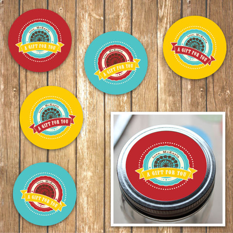 Vintage Carnival Circus Jar Labels in Yellow Teal & Red