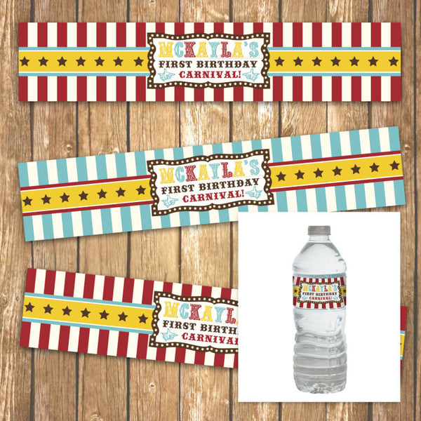 Vintage Carnival Circus Bottle Labels in Yellow, Teal and Red