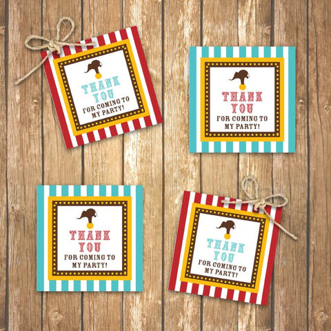 Vintage Carnival Circus Party Favor Tags in Yellow, Teal and Red