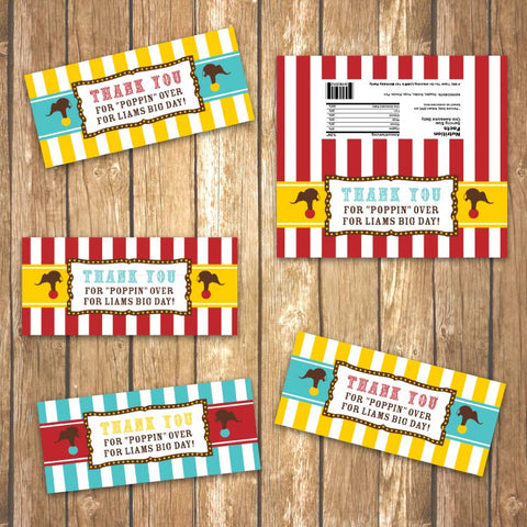 Vintage Carnival Circus Folded Bag Tags in Yellow, Teal and Red