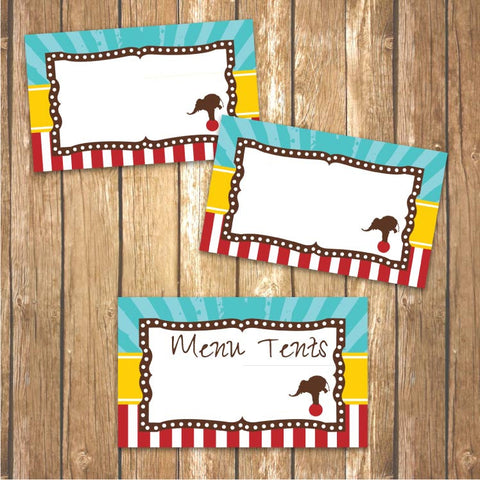 Vintage Carnival Circus Menu Tents in Yellow, Teal and Red