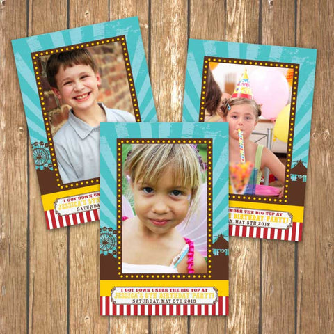 Vintage Carnival Circus Printable Photo Frames in Yellow, Teal and Red
