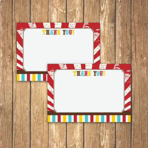 Vintage Carnival Circus Thank You Notecards in Yellow, Teal and Red (A)
