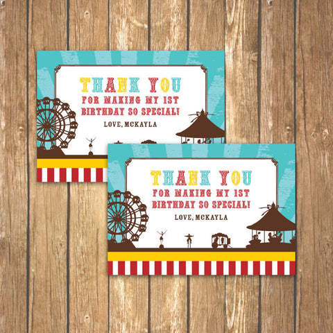 Vintage Carnival Circus Thank You Notecards in Yellow Teal & Red (B)