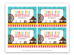 Vintage Carnival Circus Thank You Notecards in Yellow, Teal and Red (B)