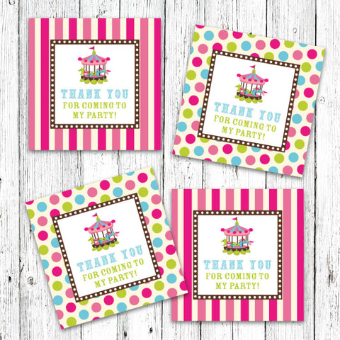 Vintage Carnival Circus Party Favor Tags in Candy Colors