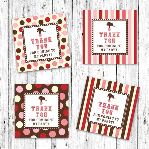 Vintage Carnival Circus Party Favor Tags in Pink Red & Brown