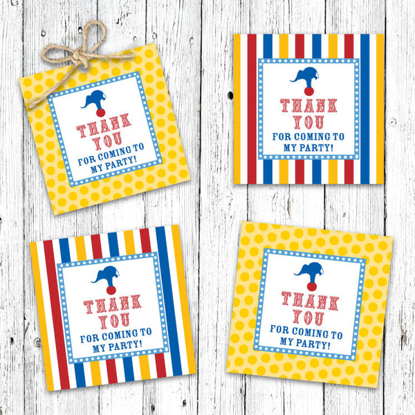 Vintage Carnival Circus Party Favor Tags in Yellow Blue & Red