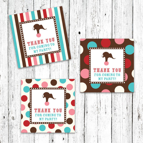 Vintage Carnival Circus Party Favor Tags in Red Teal & Brown