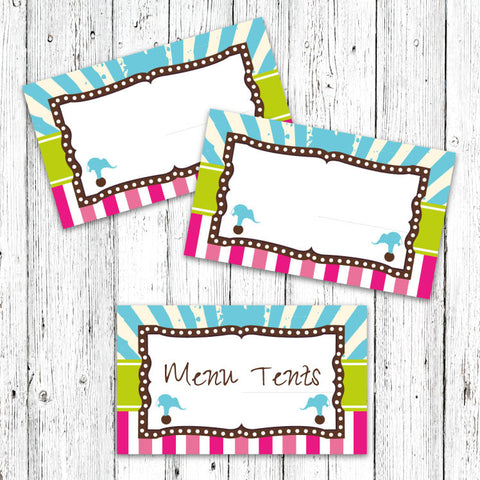 Vintage Carnival Circus Menu Tents in Candy Colors