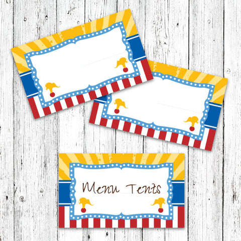 Vintage Carnival Circus Menu Tents in Yellow Blue & Red